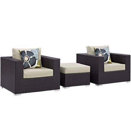 Modway Convene Collection EEI-2363-EXP- 3-Piece Outdoor Patio Sofa Set with Ottoman and 2 Armchairs in Espresso and