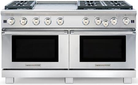 """American Range ARROB-6602GD 60"""" Performer Series Gas Range with Two 4.4 cu. ft. Capacity Ovens, 6 Open Burners, 22"""" Griddle, Convection Oven with Infrared Broiler, in Stainless Steel:"""