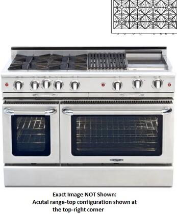 "Capital CGMR488L 48"" Culinarian Series Liquid Propane Freestanding Range with Open Burner Cooktop, 4.6 cu. ft. Primary Oven Capacity, in Stainless Steel"