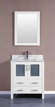 Bosconi Bosconi AW130CMUX Single Vanity with Soft Closing Doors , Drawers,Marble Top, Faucet, Mirror in White and White Undermount Oval Ceramic Sink