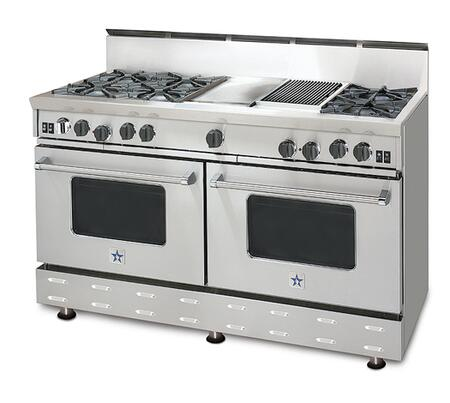 "BlueStar RNB606FTV1LP 60"" RNB Series Other Freestanding Range with Open Burner Cooktop, 4.5 cu. ft. Primary Oven Capacity, in Stainless Steel"