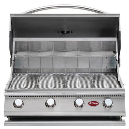 Cal Flame BBQ0G0 G Series Built-In Liquid Propane Grill with 430 Stainless Steel Construction, Porcelain-coated Cast Iron Burners, V-Grates, and Temperature Gauge, in Stainless Steel