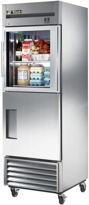 "True TS23xG 27"" TS Series Reach-In Combination Refrigerator with 2 Doors, 3 Shelves, Stainless Steel Construction, and Low-E Double Pane Thermal Glass Door, in Stainless Steel"