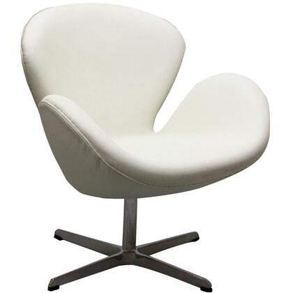 Modway EEI527WHI Wing Series Armchair Leather Metal Frame Accent Chair