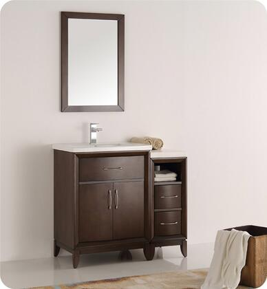 "Fresca Cambridge Collection FVN21-2412 36"" Traditional Bathroom Vanity with Mirror, 2 Soft Close Doors, Tapered Legs, Integrated Ceramic Sink & Countertop and Side Cabinet in"