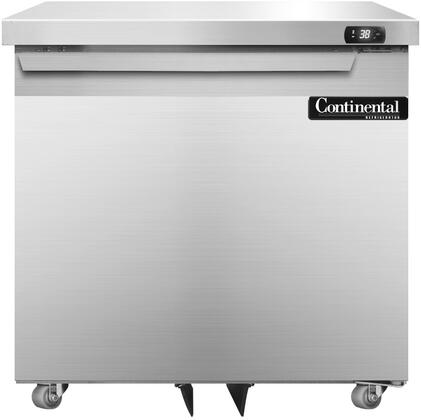 "Continental Refrigerator SW32X 32"" Undercounter Refrigerator with Aluminum Interior, Casters, 9 Cu. Ft. Storage Capacity, Digital Display, Electronic Controls, and R134-a Refrigerant, in Stainless Steel"
