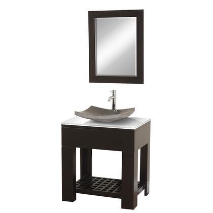 "Wyndham Collection WCS1000ESWH Zen II 30"" Modern Sink Vanity, with 24"" Mirror, White Glass Top, Storage Shelf, and Sink, in Espresso Finish"