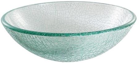 """Kraus GV500X Singletone Series 17"""" Round Vessel Sink with 12-mm Tempered Mosaic Glass Construction, Easy-to-Clean Polished Surface, and Included Pop-Up Drain with Mounting Ring"""