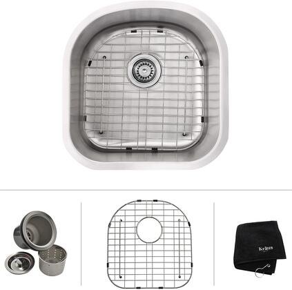 Kraus KBU1 Premier Series Undermount Single-Bowl Kitchen Sink with Premium Stainless Steel Construction, NoiseDefend, and Included Dish Grid