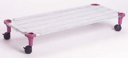 """Mahar 5875T 40"""" Multi-Colored Striped Fabric Unassembled Cot Dolly With Color Leg (Toddler Size)"""