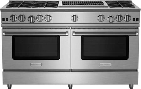 """BlueStar RNB608CBV RNB Series 60"""" Freestanding Gas Range with 8 Cast Iron Open Burners, 4.5 Cu. Ft. Convection Oven, 12"""" Charbroiler, Simmer Burner, Full Motion Grates and Stainless Steel Drip Trays"""