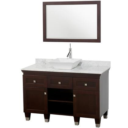 "Wyndham Collection WCV500048 Premiere 48"" Single Vanity, with Warp Resistant Construction, Water Resistance, 24.25"" Mirror, Two Doors, Top, and Sink"