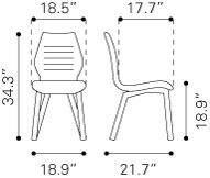 """Zuo 10005 Aalborg 34"""" Dining Chair with Tapered Legs and Polyblend Upholstery"""