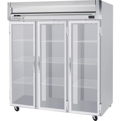 Beverage-Air HRP3-1 Horizon Series Three Sections [Solid Door] Reach-In Refrigerator, 74 cu.ft. capacity, Stainless Steel Front and Sides, Aluminum Interior
