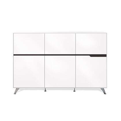 Unique Furniture 496WH 400 Series Freestanding Wood 3 Drawers Cabinet