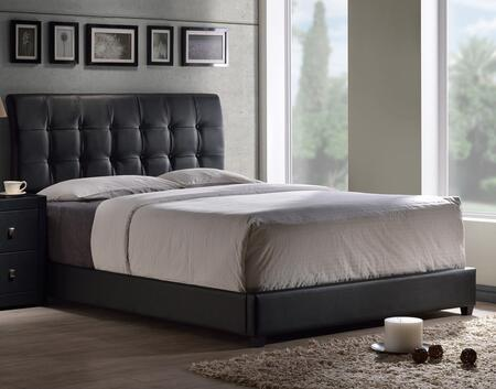 Hillsdale Furniture 1281B Lusso Panel Bed Set with Button Tufted Rectangular Headboard, Sleek Textures, Rails and Faux Leather Upholstery in Black Color