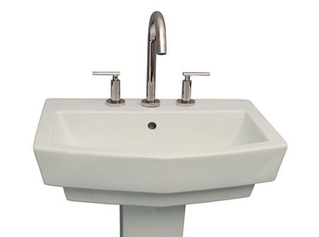 """Barclay B/3-78WH Credenza Basin Only, with Pre-drilled Faucet Holes, Overflow, 6.875"""" Basin Depth, and Vitreous China Construction, in White"""
