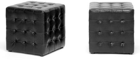 Wholesale Interiors BH5589BLACKOTTO Siskal Series Modern Faux Leather Ottoman