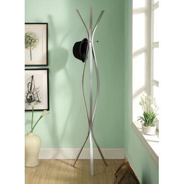 Monarch I 201X Freestanding Coat Rack, with Metal Construction, Contemporary Design, and 3 Hooks, in Silver Finish