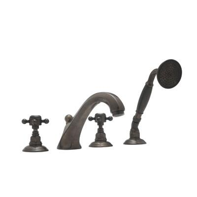 Rohl A1804XC Country Bath Collection 4-Hole Deck Mount Hex Spout Tub Filler with Swarovski Crystal Cross Handles: