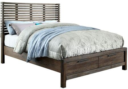 Furniture of America Hankinson CM7576DRX Bed  with Transitional Style, Slatted Wingback Headboard, 2 Drawers on Footboard, 2 Drawer Night Stand in Rustic Natural Tone