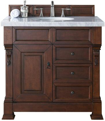 "James Martin Brookfield Collection 147-114-5586- 36"" Warm Cherry Single Vanity with Single Soft Closing Door, Two Soft Closing Drawers, Backsplash, Hand Carved Filigrees and"