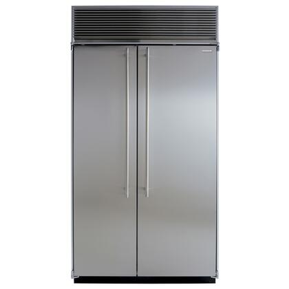"""Marvel M42SSSS 42"""" Counter Depth Side by Side Refrigerator with 27.7 cu. ft. Capacity in Stainless Steel"""