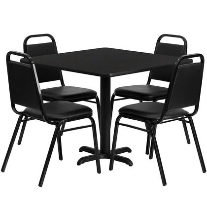 "Flash Furniture HDBF1X0X-GG 36"" Square Laminate Table Set with 4 Black Trapezoidal Back Banquet/Restaurant Chairs, Designed for Commercial Use, and Heavy Duty Construction"