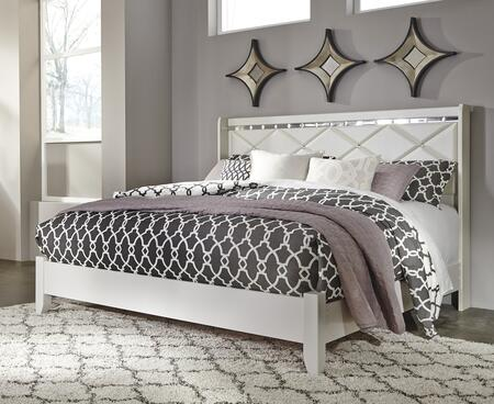 Signature Design by Ashley Dreamur B351 Panel Bed with Diamond Pattern 3D Press Technology, Faux Crystal Buttons and Beveled Edge Mirror in Champagne Finish