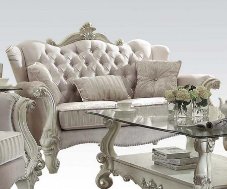 Acme Furniture 5210 Versailles Loveseat with 3 Pillows, Crystal Like Button Tufted Back and Nail Head Trim in