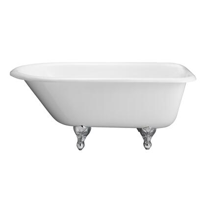 """Barclay CTRN61WH 61"""" Blakely Cast Iron Roll Top Tub in White having Overflow and No Faucet Holes with"""
