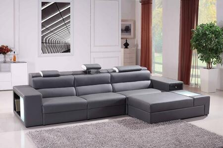 VIG Furniture VGEV5022BGRY Divani Casa Polaris Series Sofa and Chaise Bonded Leather Sofa