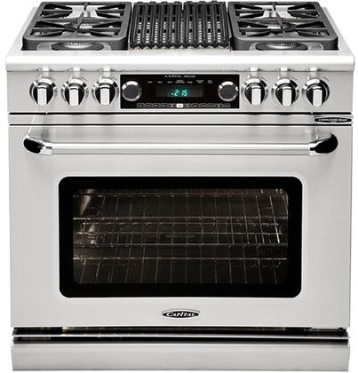 """Capital CSB362B2N 36"""" Gas Freestanding Range with Sealed Burner Cooktop, 4.6 cu. ft. Primary Oven Capacity, in Stainless Steel"""