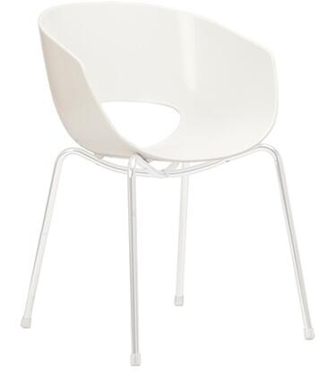 ITALMODERN L3468WHT Orbit Series Modern Not Upholstered Metal and Plastic Frame Dining Room Chair