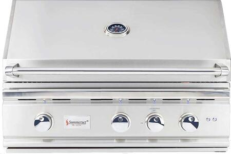 """Summerset Grills TRL32-x 32"""" TRL Series Built-In Grill with 3 Stainless Steel U-Tube Burners, Rotisserie Infrared Back Burner, 925 sq. in. Cooking Surface and Interior Halogen Light, in Stainless Steel"""