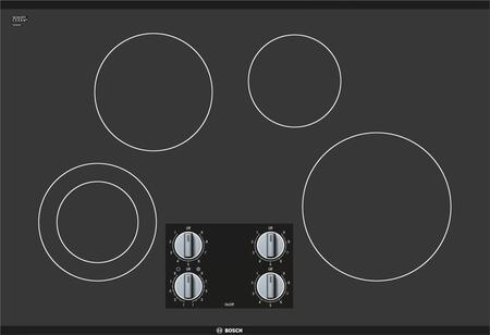 """Bosch NEM5066UC 30"""" 500 Series Black 4 Element Electric Cooktop"""