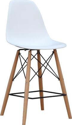 Fine Mod Imports FMI1011030WHITE WoodLeg Series Residential Not Upholstered Bar Stool