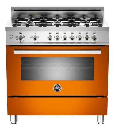 "Bertazzoni PRO366GASAR 36"" Professional Series Gas Freestanding Range with Sealed Burner Cooktop, 4.4 cu. ft. Primary Oven Capacity, Storage in Orange"