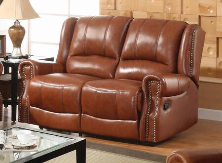 Yuan Tai GM5500LBR Gambell Series Leather Loveseat with Wood Frame Loveseat
