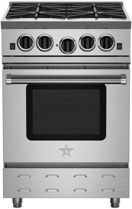 "BlueStar RNB244BV RNB Residential Nova Series 24"" Freestanding Gas Range with 4 Cast Iron Open Burners, Convection Oven, Ceramic Infra-Red Broiler, Full Motion Grates and Stainless Steel Drip Tray"