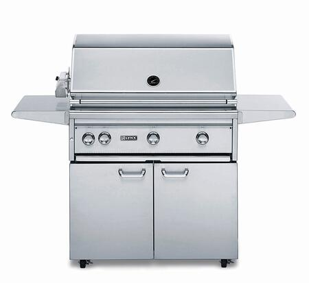 """Lynx L36ASFR Professional Series 36"""" Grill on Cart with 3 ProSear2 Burners and Rotisserie, 935 sq. in. Cooking Surface, Grill Halogen Lights and Heat Stabilizing Design, in Stainless Steel:"""