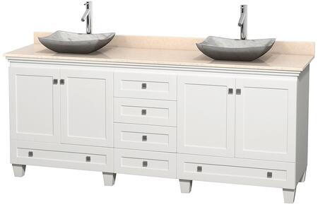 """Wyndham Collection Acclaim 80"""" Double Bathroom Vanity with 4 Doors, 6 Drawers, 3"""" Backsplash, Brushed Chrome Hardware, Ivory Marble Top and Avalon White Carrera Marble Sinks in"""