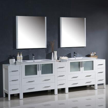 "Fresca Torino Collection FVN62108XXUNS 108"" Modern Double Sink Bathroom Vanity with 3 Side Cabinets, Integrated Sinks and 2 Mirrors in"