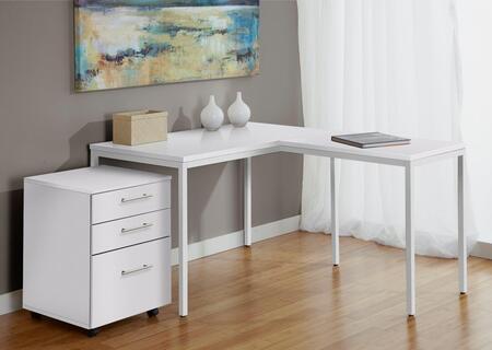Unique Furniture 1C100018P Parsons L Shaped Desk with Mobile Pedestal