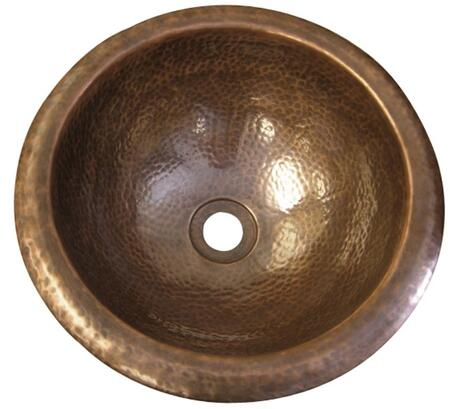 Large Round Self Rimming Basin: Hammered Antique Copper (Regular View)