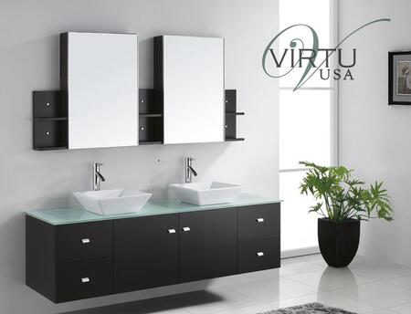 "Virtu USA Clarissa 72"" MD-409-x-ES Double Sink Bathroom Vanity in Espresso Finish with x Countertop, Matching Mirrors, Eco-friendly and Lifetime Warranty Faucets, 2 Doors and 4 Doweled Drawers"