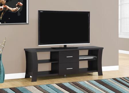 """Monarch I 268X 60"""" TV Stand with 2 Drawers, Wood Construction and Flared Legs"""