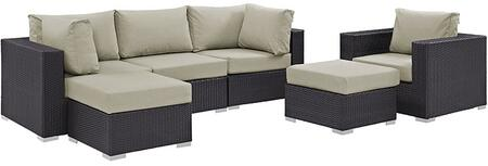 Modway Convene Collection 6 PC Outdoor Patio Sectional Set with Powder Coated Aluminum Frame, Waterproof Nonwoven Fabric Inner Cover and Stainless Steel Legs in Espresso Color