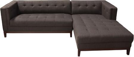 Diamond Sofa MANHATTANRFSECTBR Manhattan Series Sofa and Chaise Fabric Sofa