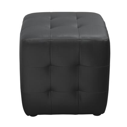 "Diamond Sofa Zen 18"" Ottoman with Espresso Wood Feet, Tufted Sides and Bonded Leather Upholstery in"